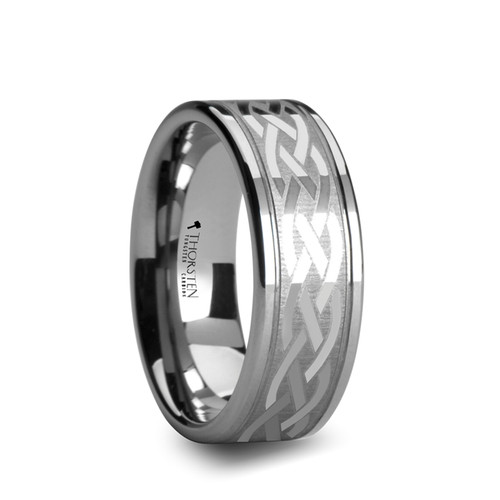 Tassel Pipe Cut Tungsten Carbide Band with Celtic Design at Rotunda Jewelers