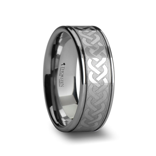 Helenium Tungsten Carbide Band with Celtic Knot Pattern at Rotunda Jewelers