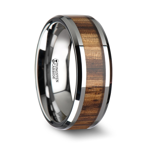 Pointsettia Tungsten Carbide Band with Real Zebra Wood Inlay at Rotunda Jewelers
