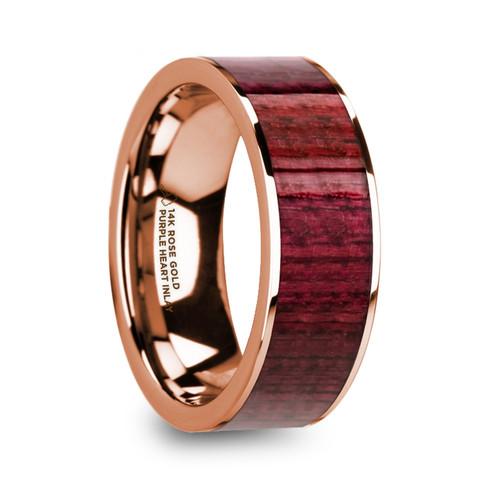 Phlox 14k Rose Gold Men's Wedding Band with Purpleheart Inlay at Rotunda Jewelers