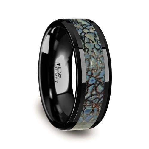 Clarkia Black Ceramic Ring with Genuine Blue Dinosaur Bone Inlay at Rotunda Jewelers