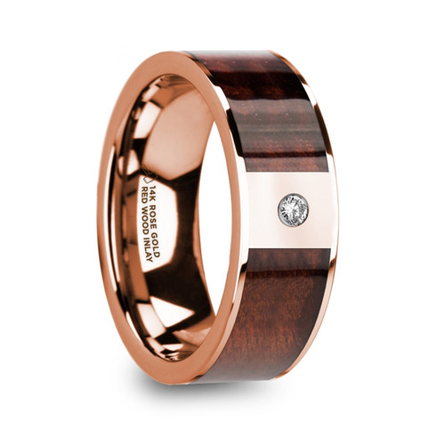 Honeycup 14k Rose Gold Men's Wedding Band with Red Wood Inlay & Diamond at Rotunda Jewelers