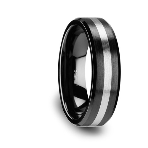 Sedum Brushed Black Ceramic Band with Tungsten Inlay at Rotunda Jewelers