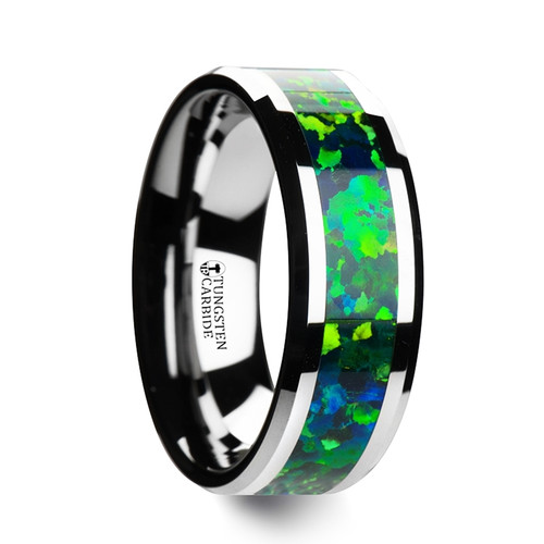 Dipodium Tungsten Wedding Band with Green & Blue Opal Inlay at Rotunda Jewelers