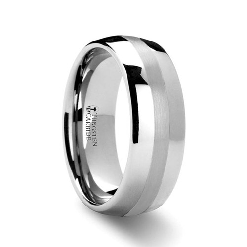 Pin Domed Platinum Inlay Tungsten Carbide Ring at Rotunda Jewelers