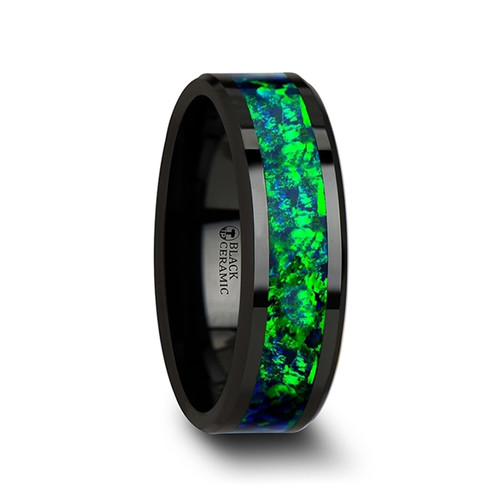 Tread Black Ceramic Wedding Band with Emerald Green & Sapphire Blue Color Opal Inlay at Rotunda Jewelers