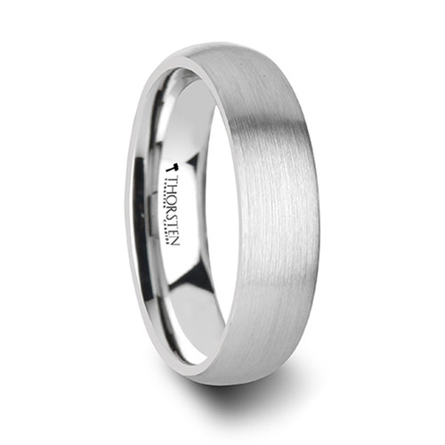 Aubreita Round Brushed White Tungsten Ring at Rotunda Jewelers