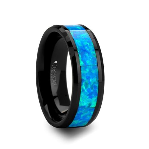 Nerine Blue & Green Opal Inlay Black Ceramic Ring at Rotunda Jewelers