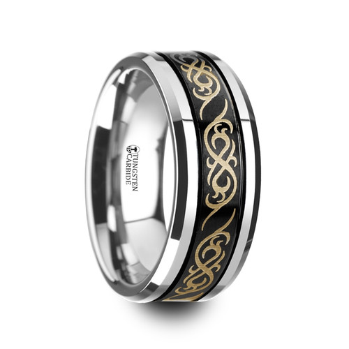 Kroustane Black Tungsten Carbide Wedding Band with Offset Grooves and Laser Engraved Celtic Pattern at Rotunda Jewelers