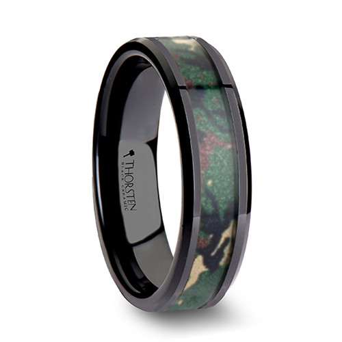 Cap Black Ceramic Wedding Band with Real Military Style Jungle Camouflage at Rotunda Jewelers