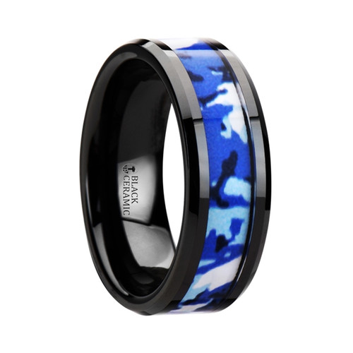 Thousandseal Black Ceramic Band with Blue and White Camouflage Inlay at Rotunda Jewelers