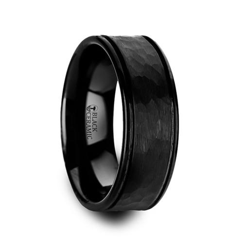 Diesema Hammered Black Ceramic Wedding Band with Offset Grooves at Rotunda Jewelers