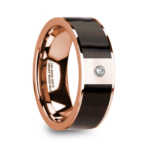 Anise 14k Rose Gold Men's Wedding Band with Ebony Wood Inlay & Diamond at Rotunda Jewelers