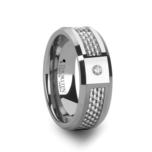 Windroot Tungsten Carbide Band with White Carbon Fiber Inlay & White Diamond at Rotunda Jewelers