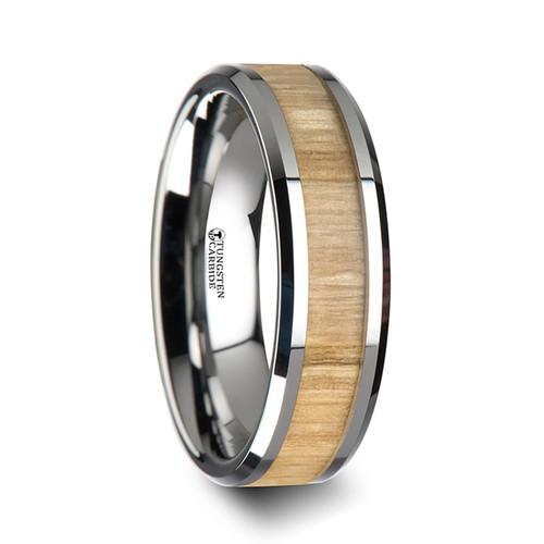 Ixora Tungsten Band with Ash Wood Inlay at Rotunda Jewelers