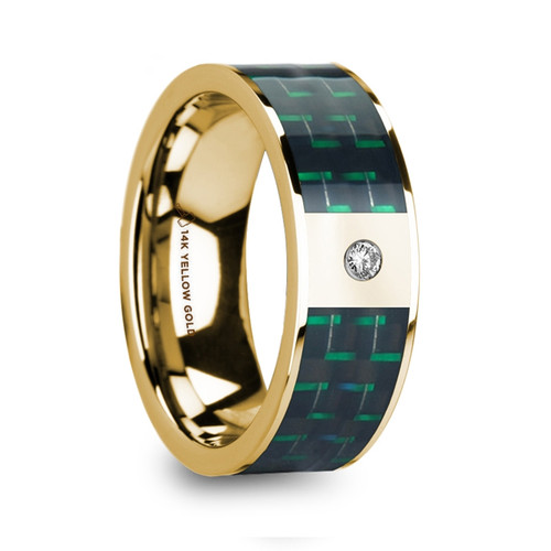 Rocket 14k Yellow Gold Men's Band with Black & Green Carbon Fiber Inlay and Diamond at Rotunda Jewelers