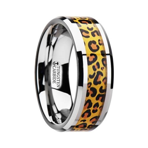 Diodela Tungsten Wedding Band with Cheetah Print Inlay at Rotunda Jewelers