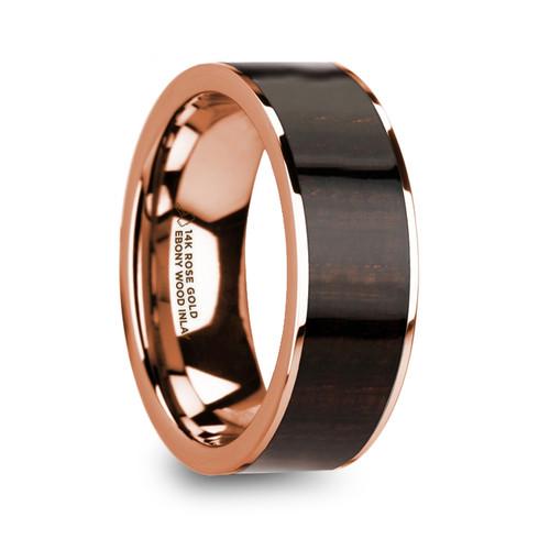 Stylidium 14k Rose Gold Men's Polished Wedding Ring with Ebony Wood Inlay at Rotunda Jewelers