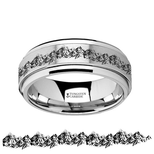 Fennel Spinning Engraved Mountain Range Tungsten Carbide Wedding Band at Rotunda Jewelers
