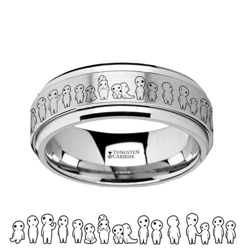 Echium Spinning Princess Mononoke Kodama Sprites Engraved Tungsten Carbide Wedding Band at Rotunda Jewelers