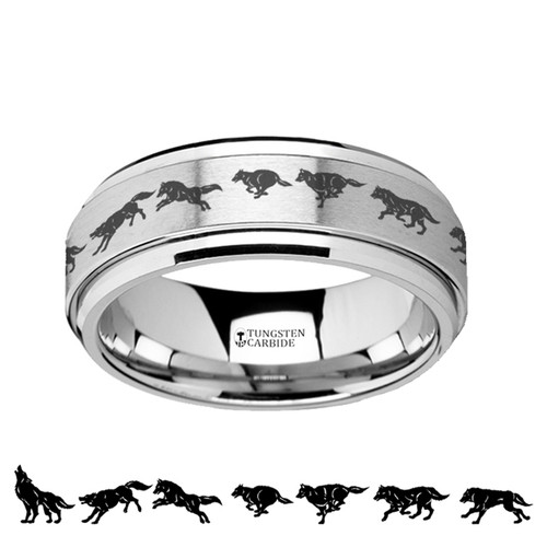 Ambrosia Spinning Running Wolf Engraved Tungsten Carbide Wedding Band at Rotunda Jewelers