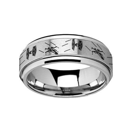 Star Spinning Tie Fighter X-Wing Design Engraved Tungsten Carbide Wedding Band at Rotunda Jewelers