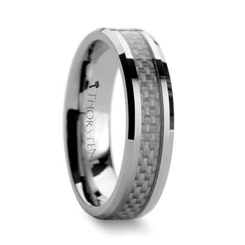 Summer Tungsten Carbide Band with White Carbon Fiber Inlay at Rotunda Jewelers