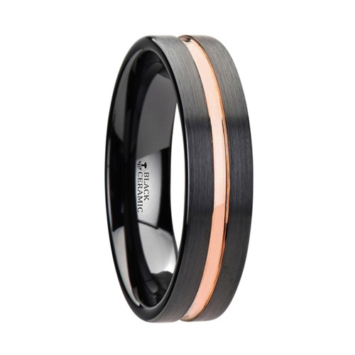 Curiounnecum Black Ceramic Wedding Band With Rose Gold Groove at Rotunda Jewelers