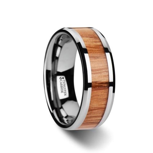 Salvia Red Oak Wood Inlay Tungsten Carbide Band at Rotunda Jewelers