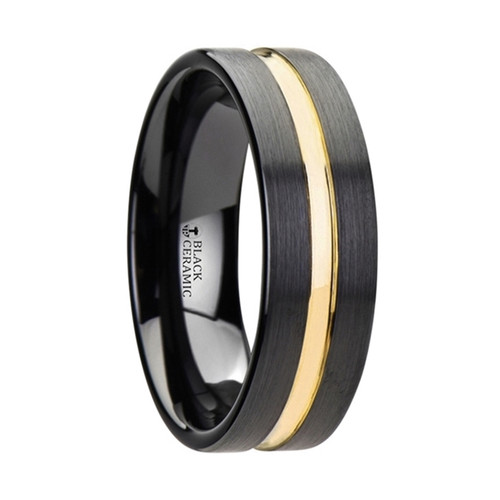 Cynoglossum Black Ceramic Wedding Band With Yellow Gold Groove at Rotunda Jewelers