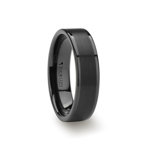 Begonia Flat Black Tungsten Band with Brushed Center at Rotunda Jewelers