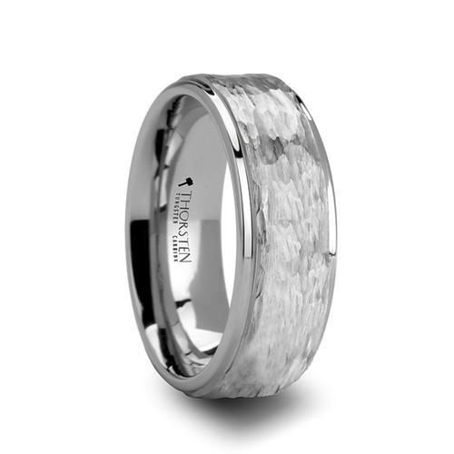 Clover Hammered Finish White Tungsten Ring at Rotunda Jewelers