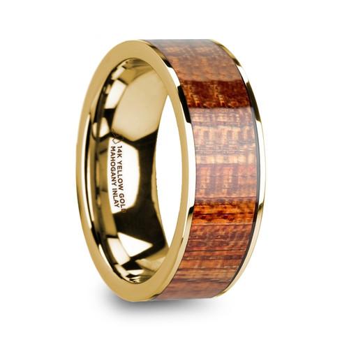 Prairie 14k Yellow Gold Men's Flat Wedding Band with Mahogany Wood Inlay at Rotunda Jewelers