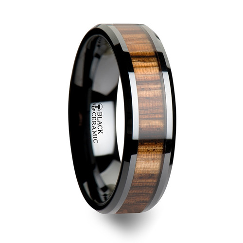 Day Black Ceramic Band with Real Zebra Wood Inlay at Rotunda Jewelers