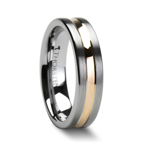 Alyssum Pipe Cut Brushed Tungsten Carbide Band with Rose Gold Plated Groove at Rotunda Jewelers