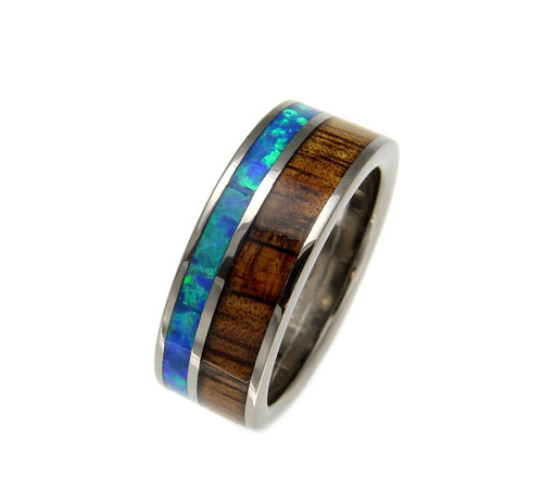 Men's Titanium Ring With Genuine Koa Wood & Blue Green Opal Inlay