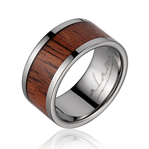 Genuine Koa Wood Inlaid Titanium Wedding Ring High Polish