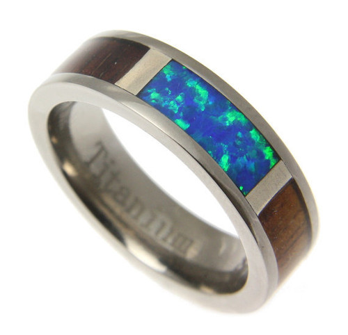 Koa Wood Inlaid Titanium Band With Blue Green Opal Center