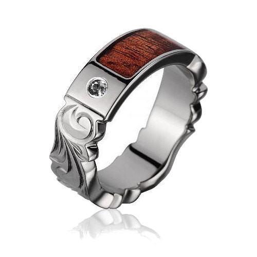 Diamond Center Titanium Wedding Band With Real Koa Wood Inlay