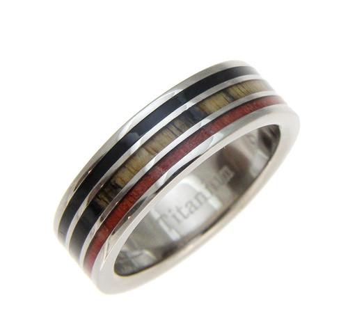 Genuine Ebony, Cocobolo & Pink Ivory Wood Inlaid Titanium Ring