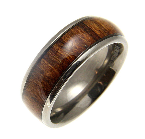 Genuine Hawaiian Koa Wood Inlaid Titanium Domed Band