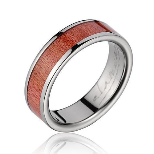 Genuine Pink Ivory Wood Inlaid Titanium Wedding Ring
