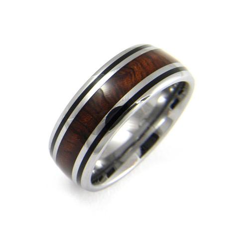 Men's Tungsten Ring With Genuine Koa Wood Inlay & Black Enamel Border