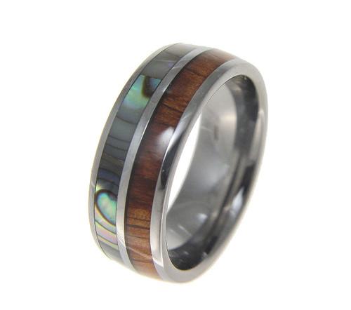 Tungsten Ring With Half Hawaiian Koa Wood & Half Abalone Shell Inlay
