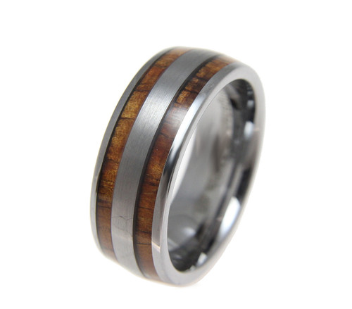 Domed Tungsten Wedding Band with Hawaiian Koa Wood Inlay