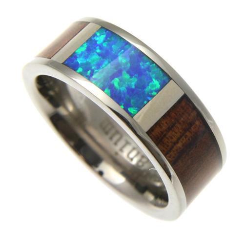 Titanium Band with Blue Opal Center & Koa Wood Inlay