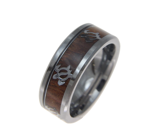 Tungsten Ring with Genuine Koa Wood Inlay and Honu Turtle Design