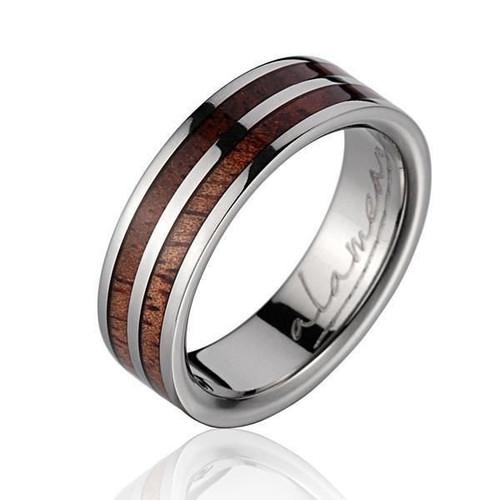 Genuine Hawaiian Koa Wood Inlaid Titanium Wedding Ring