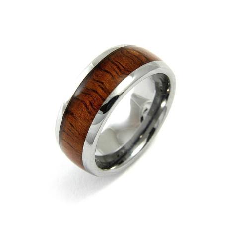 Tungsten Wedding Band With Genuine Hawaiian Koa Wood Inlay