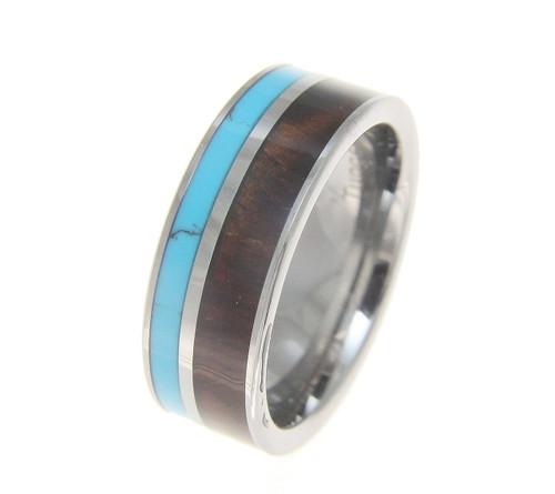 Men's Tungsten Wedding Band with Turquoise & Genuine Koa Wood Inlay